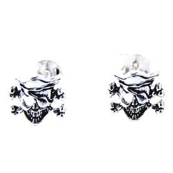 Kiss of Leather Paar Ohrstecker Skull Pirat Ohrring 925 Silber Ohrringe Ohr Sterling Silber