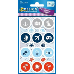 Creative Papier-Sticker Maritim 36 Stück blau/grau/rot/weiß