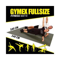 GYMEX Yogamatte GYMEX Fitness-Matte, XXL extra groß, rollbar, für Yoga, Sport & Fitness grau 240 cm x 240 cm x 0,5 cm