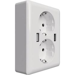 2USB 2U-449238 2fach Unterputz-Steckdose mit USB IP20 Weiß