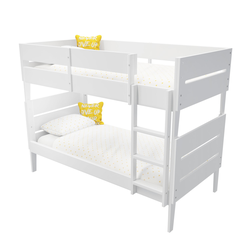 Hugo White Wooden Bunk Bed with Tapered Legs - Ladder Can Be Fitted Either Side!