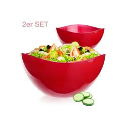 PLATINUX Schüssel Rote Schüsseln, Glas, (2-tlg), Obstschale 1,7L Set 2 Teilig Glasschale Dessertschüssel Salatschüssel groß Schüssel Obstschüssel rot