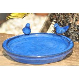 Vogeltränke mit Zwei kleinen Vögelchen,rund,blau glasiert,30cm,%%mit kleinen Fehlern%%
