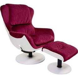 Relaxsessel MCW-E52, Fernsehsessel TV-Sessel Hocker, Samt ~ bordeaux