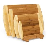 Relaxdays Schneidebrett aus Bambus 4-er Set mit Ständer Küchenbretter in verschiedenen Größen 2-farbiges Holz beidseitig nutzbar und messerschonend als Frühstücksbrettchen und Servierbrett Holz, natur