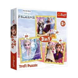 Trefl Puzzle Puzzle 3 in 1 - Anna & Elsa - Disney Frozen II, Puzzleteile