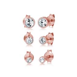 Elli Ohrring-Set Stecker Kristalle (3 tlg) 925 Silber, Kristall Ohrstecker rosa