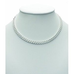 Adelia´s Silberkette 925 Silber Flach Panzer Halskette 45 cm, Flach Panzerkette Silberschmuck für Damen silberfarben