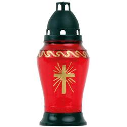 HS Candle Grabkerze, Grablicht Grableuchte aus Glas, versch. Formen, inkl. Kerze rot