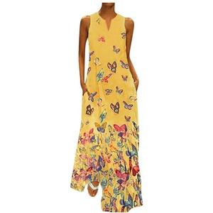 Sommer Leinenkleid Damen Sommer Cocktailkleider Damen Elegant Kleid Sommer Knielang Kleid Hochzeit Gast Yoga Kleidung Damen Bohemian Kleid Kleid Glitzer Brautjungfernkleider Mädchen(Gelb,5XL)