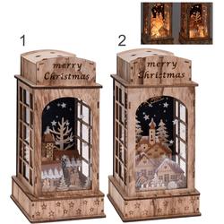 Laterne mit Weihnachtsszene - 10 LED 32cm Weihnachtsdeko Dekoration Weihnachten