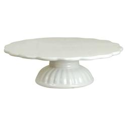 Ib Laursen Tortenplatte Ib Laursen - Tortenplatte auf Fuß Mynte Keramik Weiß 2079-11 Kuchenplatte Shabby, Keramik