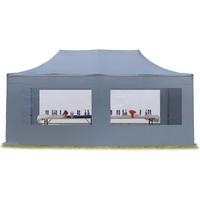 TOOLPORT Faltpavillon 3,00 x 6,00 m inkl. Seitenteile dunkelgrau (582243)