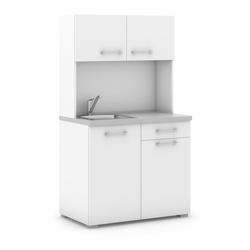 Küchenzeile mit spülbecken und mischbatterie, weiß