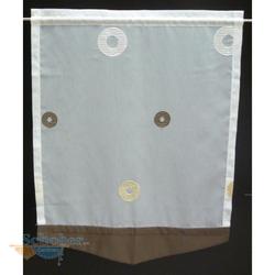 Scheibengardine weiß beige braun Kreise, transparent, 58,5 x 76 cm
