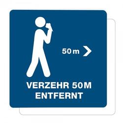 3 Stück Hinweis-Aufkleber - Verzehr 50m entfernt (150x150 mm)