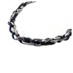Vivance Gliederkette Gliederkette aus Edelstahl mit eingeflochtenem schwarzem Leder