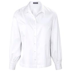 Hemdbluse aus Baumwoll-Satin mit karierten Galonstreifen Basler bright white