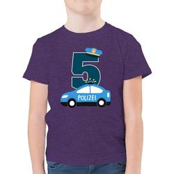 Shirtracer T-Shirt Polizei Geburtstag 5 - Geburtstag Kind - Jungen Kinder T-Shirt - T-Shirts polizei tortendeko 128 (7/8 Jahre)