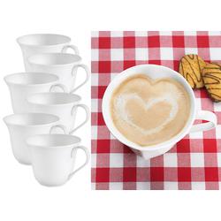 6er-Set Porzellan-Tassen in Herzform