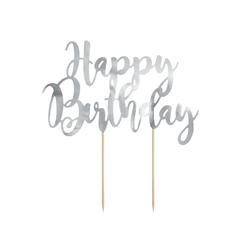 partydeco Tortenstecker, Cake Topper Happy Birthday 22.5cm, silber