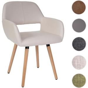 Esszimmerstuhl HWC-A50 II, Stuhl Küchenstuhl, Retro 50er Jahre Design ~ Kunstleder, creme, helle Bei