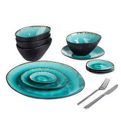 vancasso Geschirr-Set Aqua (11-tlg), Steinzeug, 11 teilig Geschirrset Serviergeschirr aus Steinzeug