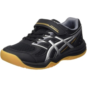 ASICS Upcourt Volleyball Shoe, Black/Pure Silver, 32.5 EU