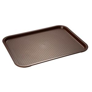 APS Fast Food-Tablett, Rechteckiges Essenstablett mit abgerundeten Ecken, Maße (B x L x H): 35 x 27 x 2 cm, braun