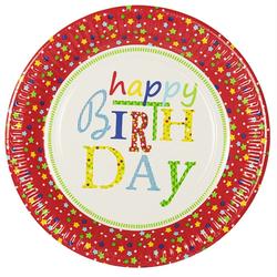 Teller Geburtstagsteller Geburtstag `Happy Birthday`, Ø 23 cm, Pappe, 10 Stk.