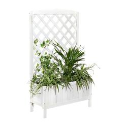 Mucola Blumenkasten Blumenkasten Holz Rankkasten Rankgitter Rankhilfe Blumenständer Blumenkübel Rankgestell weiß