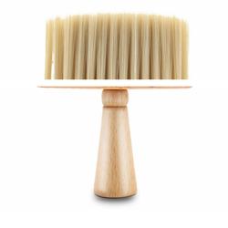 Friseurmeister Pinsel Nackenpinsel - in Natur Braun, Friseurbedarf Zubehör Barber und Friseur Nackenbürste aus Holz