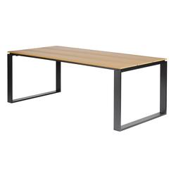 ebuy24 Gartentisch Martin Gartentisch 210 x 100 cm, schwarz und teak