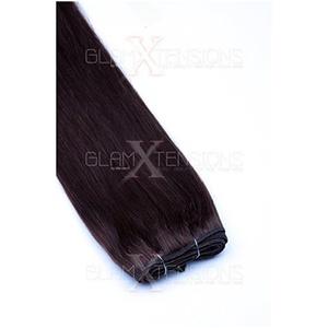 Weft Echthaartresse glatt 100% indisches Echthaar 20cm Haarverlängerung Extensions