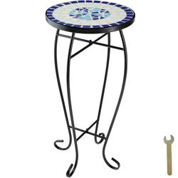 tectake Balkontisch Blumenhocker Mosaik - weiß/blau - 402769