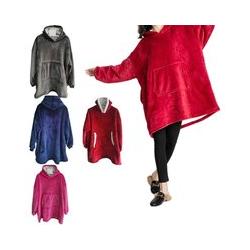 Kids Oversized Sherpa Wearable TV Blanket Hoodie Super Warm Fleece Comfy Hooded Sweatshirt Pullover with Pocket - Blue
