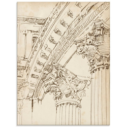 Artland Glasbild Architektur Skizzenbuch IV, Architektonische Elemente (1 Stück) 60 cm x 80 cm x 1,1 cm