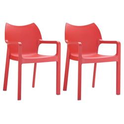 CLP Gartenstuhl Diva Kunststoff-Gartenstuhl mit Armlehnen rot