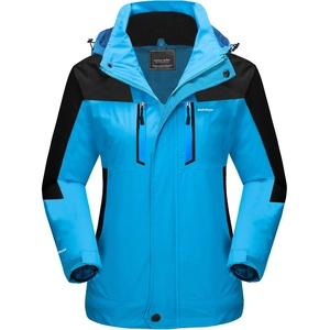 MAGCOMSEN Damen Skijacke 3 in 1 Jacken Outdoor Funktionsjacke Warme Wintermantel Fleece Gefüttert Jacke Damen Winddichte Wasserdicht Jacke Übergangsjacke mit Reißverschluss Blau XS