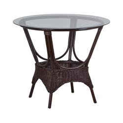 Rattan Tisch 'Wanuta' braun Glas, Rattan