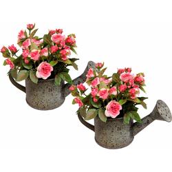 Kunstpflanze Wildrosen in Gießkanne (2er Set), I.GE.A., Höhe 19 cm rosa