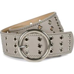 styleBREAKER Nietengürtel Breiter Taillengürtel mit Lochnieten Breiter Taillengürtel mit Lochnieten grau 100cm