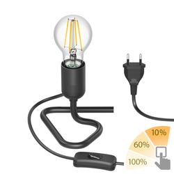 Tischlampe TRIN schwarz mit Stecker und Schalter inkl. E27 Lampe 800lm warmweiß, A++, 3-Stufen Dimmen ohne Dimmer mit Lichtschalter