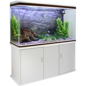 MonsterShop – weißes Aquarium, 300 Liter, Starter-Set und Zubehör, Naturkies, weißes Unterschrank, 143,5 x 120,5 x 39 cm