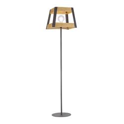 Industrielle Stehlampe schwarz mit Holz - Krati