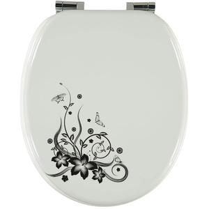 Premium MDF Toilettensitz WC-Sitz mit Absenkautomatik und verzinkten Scharnieren, Holz (Schmetterlinge und Blumen)