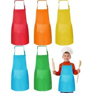Kinder Verstellbare Kochschürze 5 Pcs Kinderschürze Kinder Kochschürze zum Kochen Jungen Kinderschürze Mädchen Kinderschürze mit Tasche für Jungen und Mädchen Küche Kochen Backen Malen (7-13 Jahre)