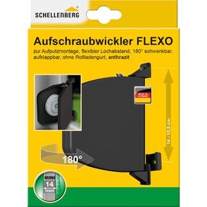 Schellenberg 50149 Aufschraubwickler Flexo aufklappbar MINI Gurtwickler Aufputz, Anthrazit