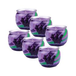 HS Candle Duftkerze (6-tlg), Kerze im Glas, Motiv-Kerze im 6er Pack mit ca. 22 Std. Brenndauer, Höhe: 6cm, Ø7cm lila