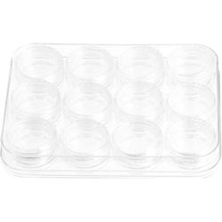 Nailart Aufbewahrungsdosen transparent 12er Set - Sortierbox Sortierkasten Nail Art